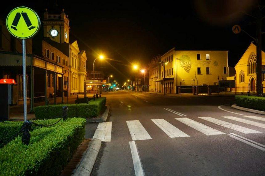 sun street at night